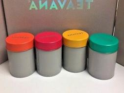 New Teavana Set of 4 Empty Tea Tins - Orange, Green, Red, Ye