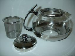 NEW Stainless Steel Glass TEA POT Teapot w. Stainless steel