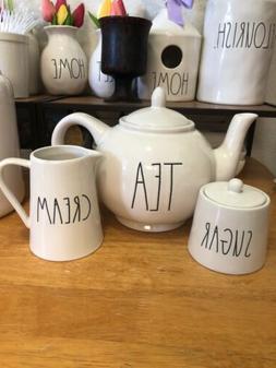 """New RAE DUNN TEA"""" Teapot, Sugar Pot And Cream. Set Of 3 Item"""