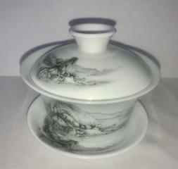 NEW White & black Scenic Fine Porcelain Gaiwan with Saucer