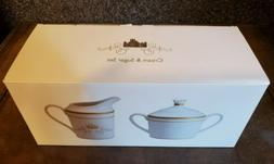 NEW - Downton Abbey - White And Gold Cream & Sugar Bowl Set