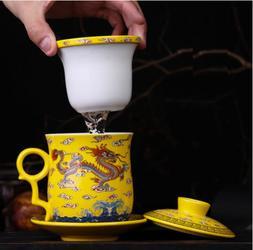 NEW Yellow Dragon Ceramic Porcelain Tea Cups Coffee Mug with