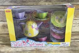 NIB Tin Tea Set Summer Bugs 15 Piece Play Pretend For Kids