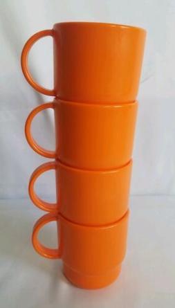 NOS Tupperware Stacking Coffee Mugs Tea Cups Radiance Orange