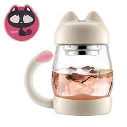 Novelty Glass Tea Cup Mugs - 420 ml or 14 oz Potable Cute Gl