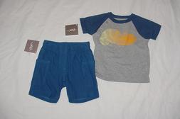 NWT Tea Collection Boys Blue & Gray Lizard Chameleon Shirt &