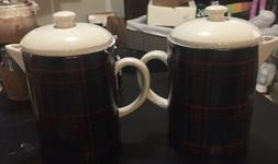 NWT Hearth & Hand Magnolia Coffee Tea Pot Plaid Pitcher Beve