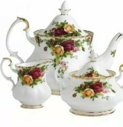 NWT Royal Albert Old Country Roses 3-Piece Large Tea Set Bon