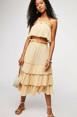 NWT Free People Sea Breeze Set $108 Tea/Neutral LARGE Midi S