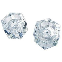 Amlong Crystal Octagon Candlesticks or Tealight Holder, Set