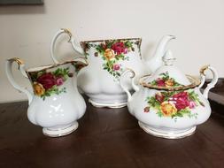 "Royal Albert ""Old Country Roses"" 3-Piece Tea Set"