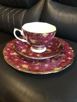 ROYAL ALBERT OLD COUNTRY ROSES RUBY LACE 3 PIECE TEA SET VER