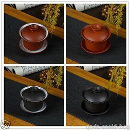 Chinese zisha purple clay porcelain gaiwan kungfu tea set tu