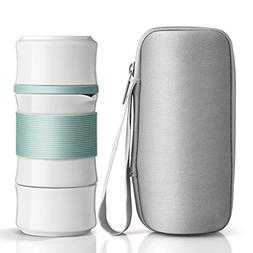 ONEISALL Ceramic Travel Tea Set,Kung Fu Tea Pot with Bag,Bam