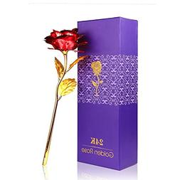 Onerbuy Creative Mother's Day Gift 24K Gold Foil Rose Flower
