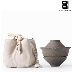 Outdoor Camp Portable Black Rough Pottery Vintage Japanese Q