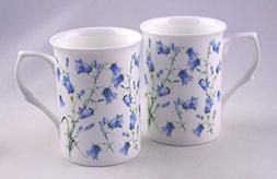 Pair  Fine English Bone China Mugs - Harebell  Chintz - Engl