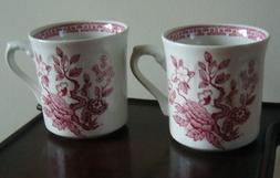 PAIR Vintage RED Transferware Small MUGS/CUPS, Tree of Life