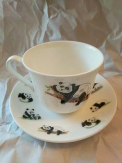 Roy Kirkham PANDA  CUP and SAUCER   Set Fine Bone China NIP