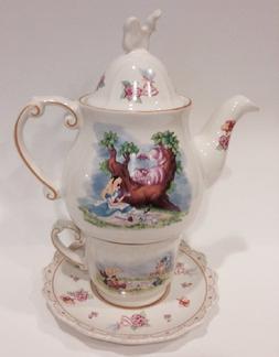 Disney Park Alice in Wonderland Tea for One Ceramic Cup Sauc