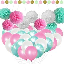 Pastel Balloons and Pom Poms Party Decoration Supplies Kit;