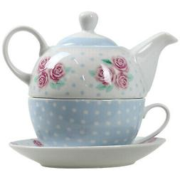 Pastel Floral Polka Dot Tea For One Teapot Pot Cup Mug And S