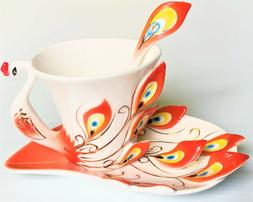 Peacock Porcelain Coffee Tea Cup Gift Set, Saucer, Cup, Spoo