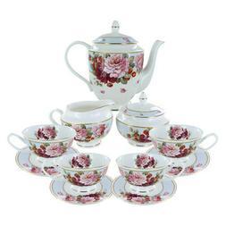 Peony and Strawberry Blue Bone China Tea Set No Additions