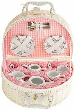 Delton Products Pink Butterfly Children's Tea Set with Baske