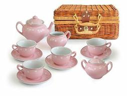 Children's 13 Pc Pink Porcelain Play Tea Set with Wicker Bas