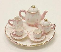 Pink and White Polka Dot Design Porcelain Children's 10 pc.
