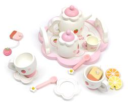 PINK WOODEN TEA SET ROLE PLAY TOY GIRLS XMAS GIFT BIRTHDAY P