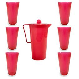 Plastic Pitcher Set Unbreakable and Stackable Iced Tea 2.5 Q
