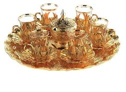 Gold Case Gold plated Turkish Tea Glasses Service Set for 6