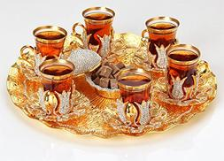 Premium Gold plated Tea Set Additionally Hand Decorated with