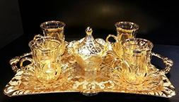Premium Gold plated Tea Set for 4 - Made in Turkey - 15 piec