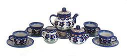 Polish Pottery Aztec Flower Miniature Tea Set