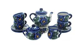 Blue Rose Polish Pottery Forget Me Not Miniature Tea Set