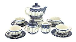 Polish Pottery Peacock Miniature Tea Set