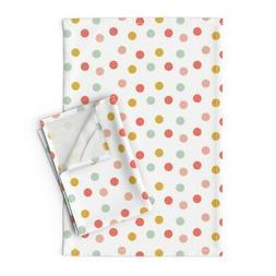 Polka Dot Kids Coral Pink Mint Gold Linen Cotton Tea Towels