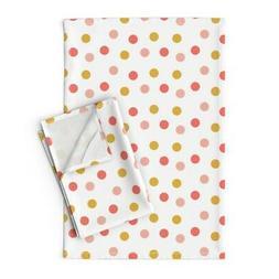 Polka Dot Kids Girls Coral Pink Linen Cotton Tea Towels by R