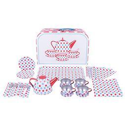 Bigjigs Toys Polka Dot Tin Tea Set with Carrying Case - Play