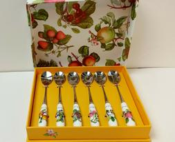 Portmeirion POMONA SET OF 6 Tea Spoons Floral/Fruit Handles
