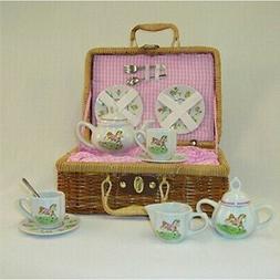 pony porcelain tea set basket