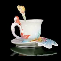 Porcelain 3PCS 6.5OZ Relief Mermaid Coffee Set Tea Cup Sauce