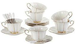 Jusalpha Porcelain 6 Tea Cup Set With 6 Saucers 6 Spoons. Bo