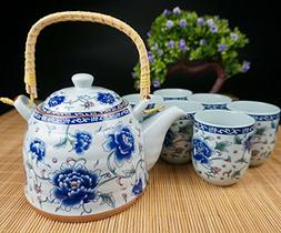 Porcelain Tea Set 9 Pieces - Traditional Chinese Style - Lar