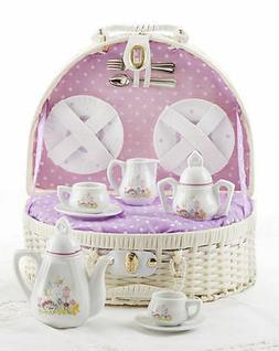 New Delton Porcelain Bird House Tea Set for 2 in Basket, Pur