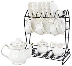 Porcelain Ceramic Coffee Tea Sets 21 Pieces with Metal Holde