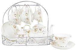 Porcelain Ceramic Coffee Tea Sets 15 Pieces with Metal Holde